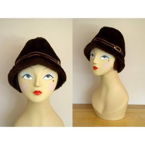 Vintage 1960's Brown Faux Fur Crusher Hat